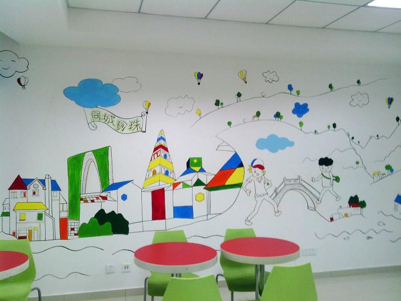 创意线条卡通画墙绘