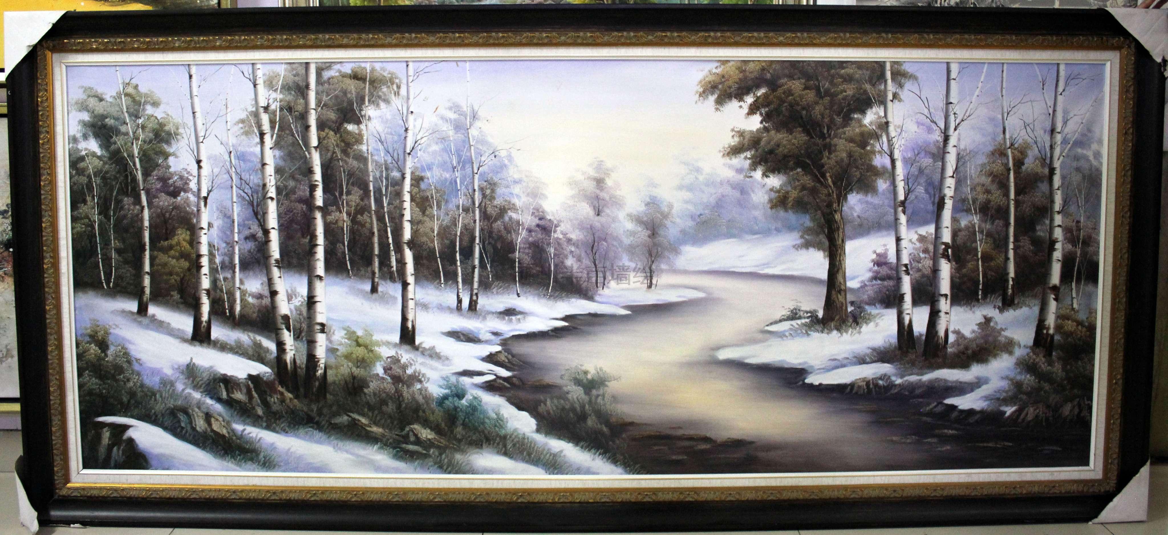 油画风景画装饰画冬季恋歌