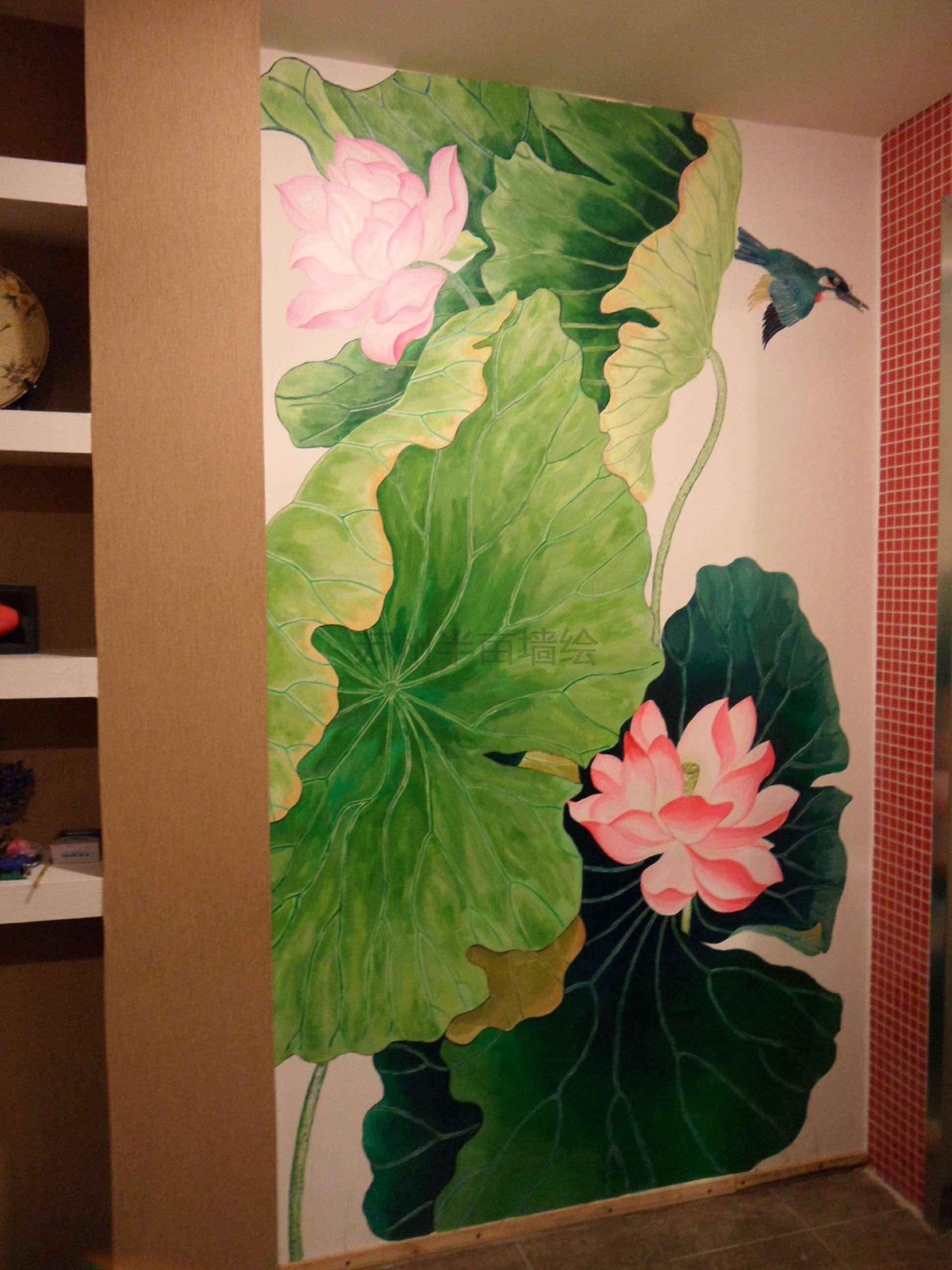 荷花手绘墙国画风格墙绘莲花