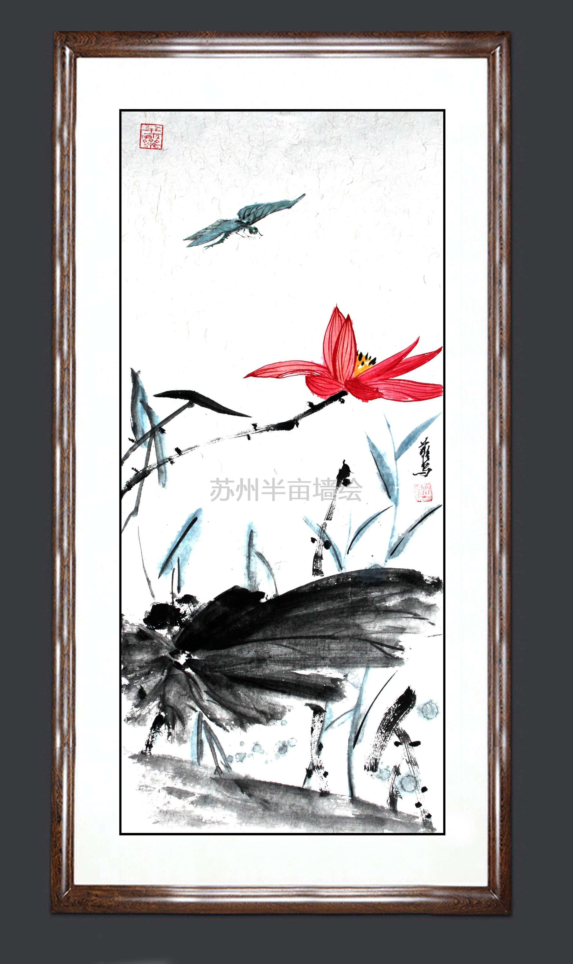 荷花书房装饰画系列作品国画