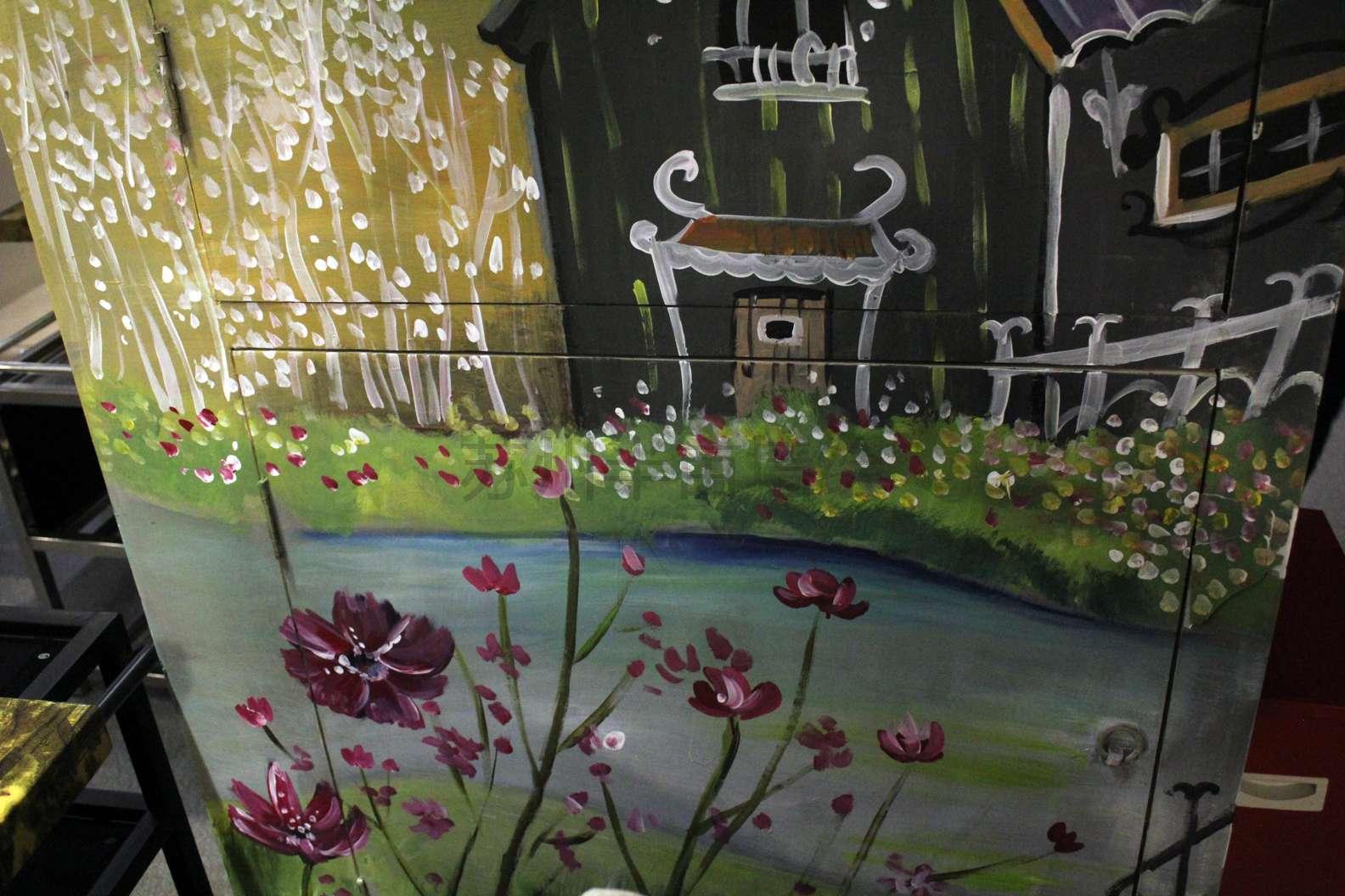 小清新手绘墙苏州半亩墙绘装饰画