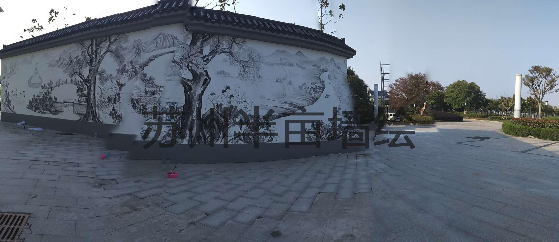 南通墙绘,水墨画手绘墙 - 苏州半亩(红枫叶)墙绘公司