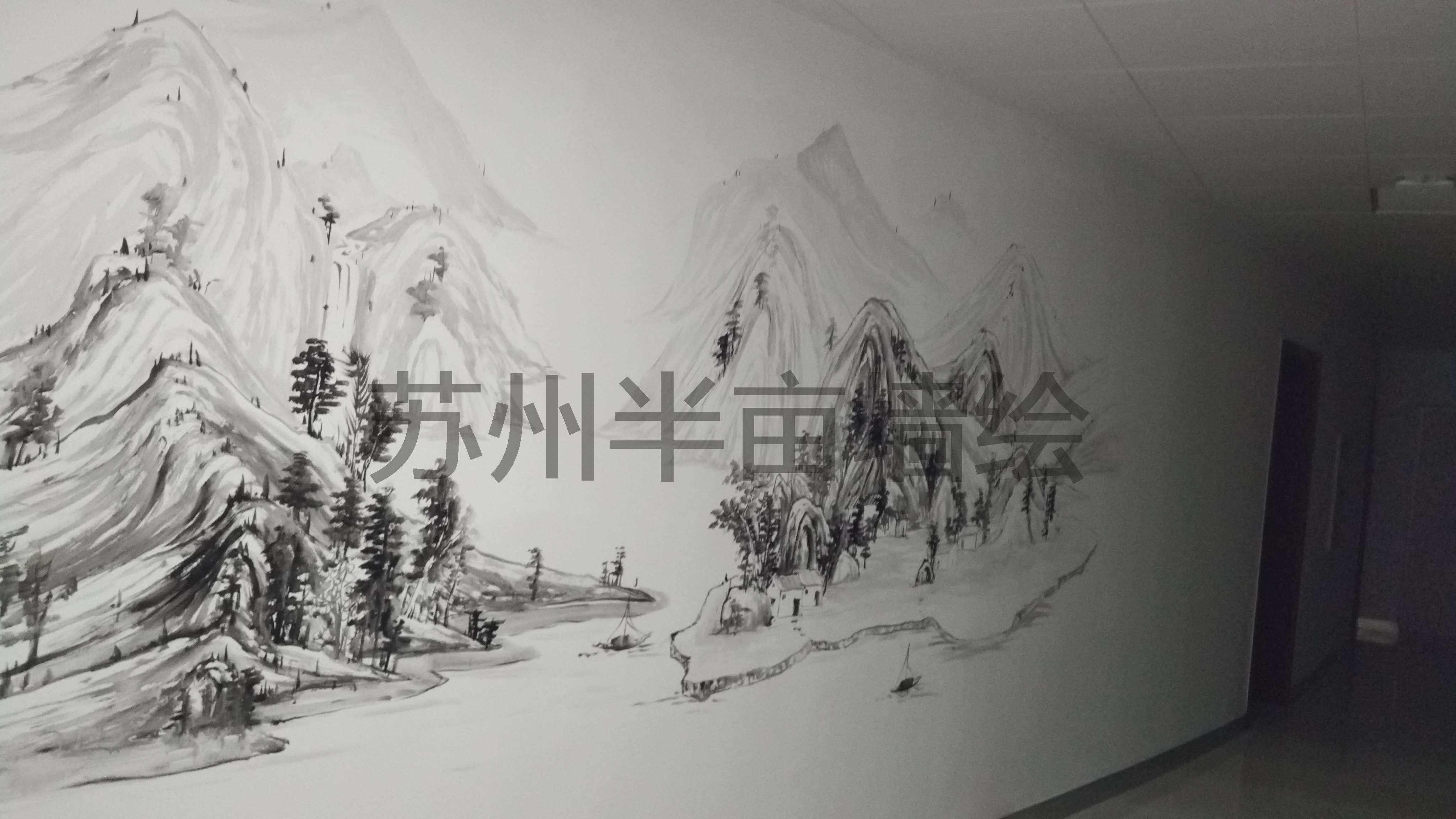 国画手绘墙,水墨墙绘