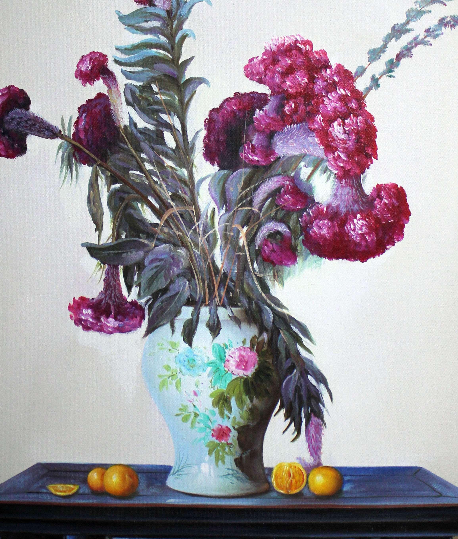 苏州装饰画,花卉写实景物油画 - 苏州半亩(红枫叶)