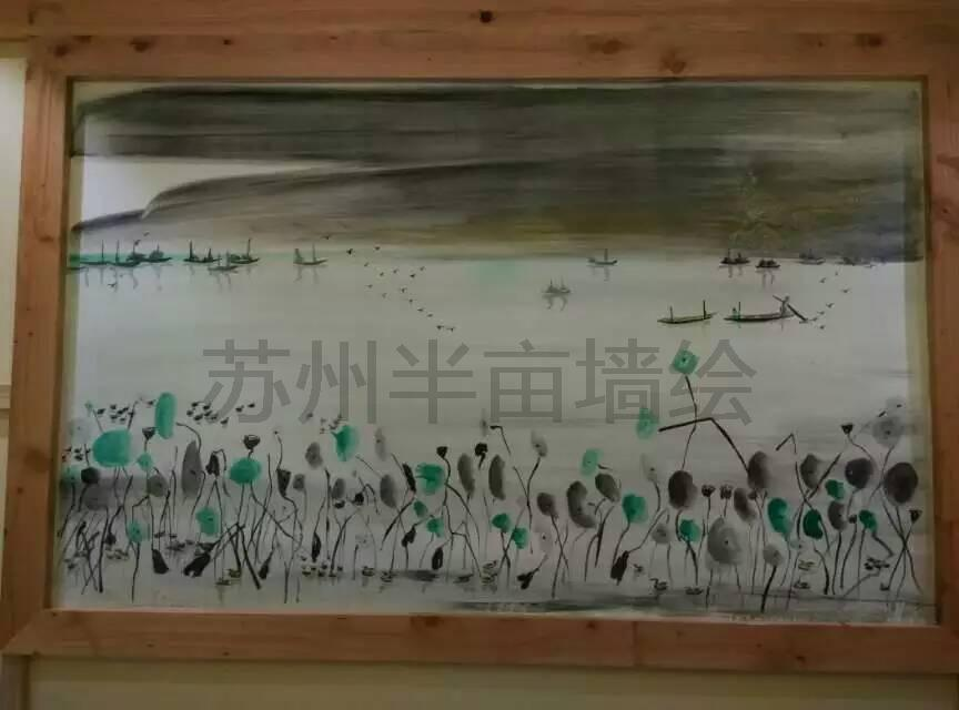 水墨墙绘,苏州半亩水墨画姑苏,在墙上画一幅山水画吧