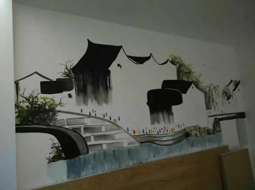 客栈墙绘完成! - 苏州半亩(红枫叶)墙绘公司