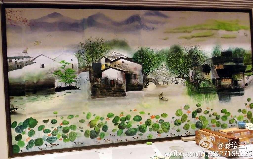 江南水乡手绘墙