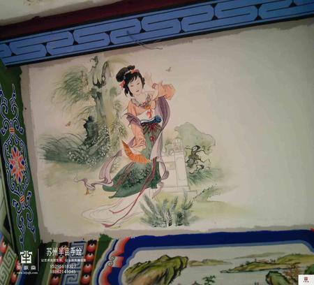 |国画山水人物手绘墙|