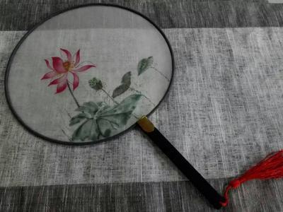 苏州半亩手绘国画,水彩扇子,定制扇子