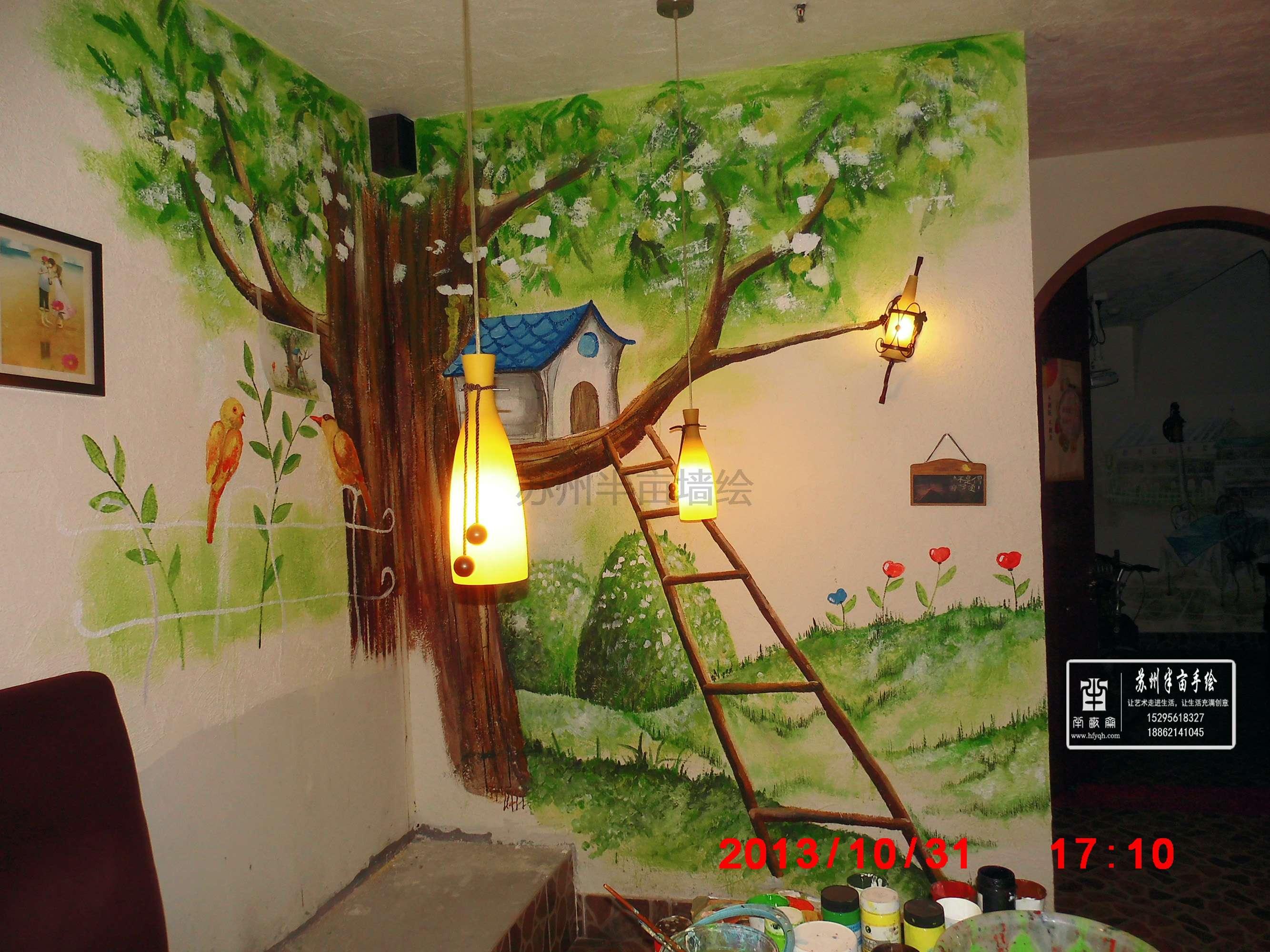 吴江披萨店墙绘绿色手绘墙风