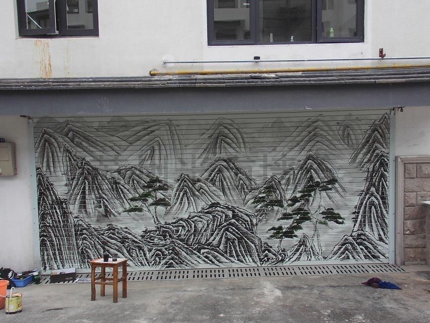 国画水墨山水画店面手绘墙