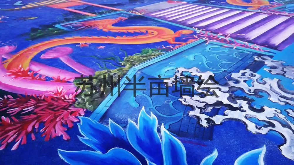 南通小洋口风景区手绘项目,超震撼超写实苏州半亩墙绘