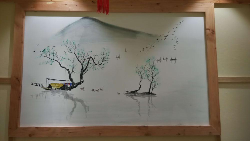 水墨墙绘|国画风墙绘公司|山水手绘墙 - 苏州半亩(红)