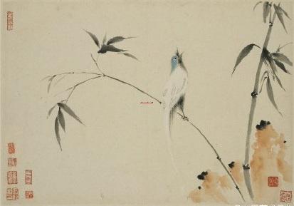 水墨山水花鸟工笔画 - 苏州半亩(红枫叶)墙绘公司