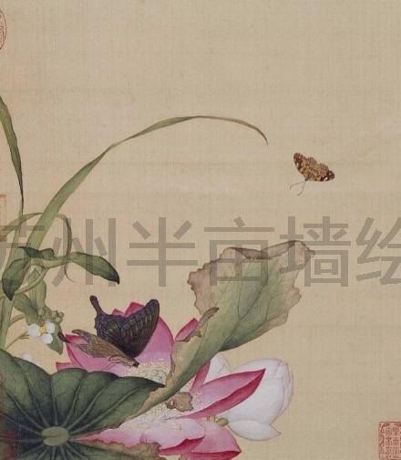 郎世宁的工笔画 - 苏州半亩(红枫叶)墙绘公司
