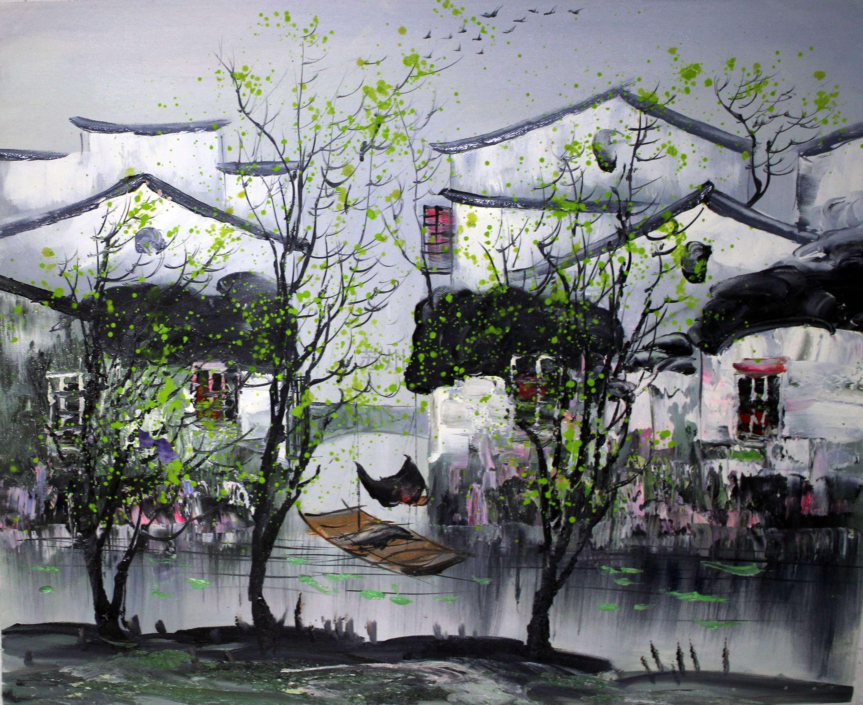 蘇州裝飾畫蘇州風景吳冠中風格油畫裝飾畫 - 蘇州半畝