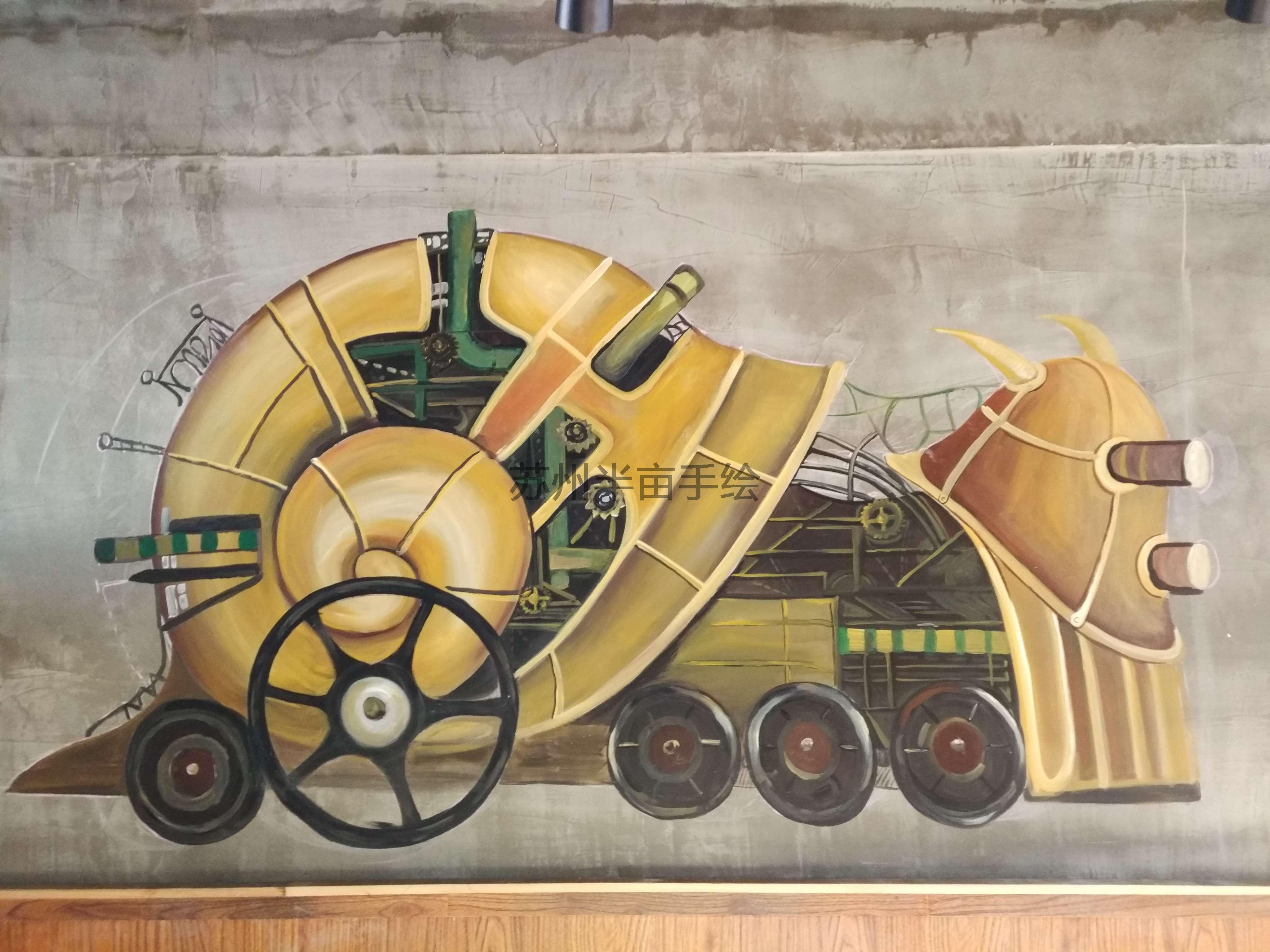 墙绘江苏手绘墙,工业风手绘 - 苏州半亩(红枫叶)墙绘