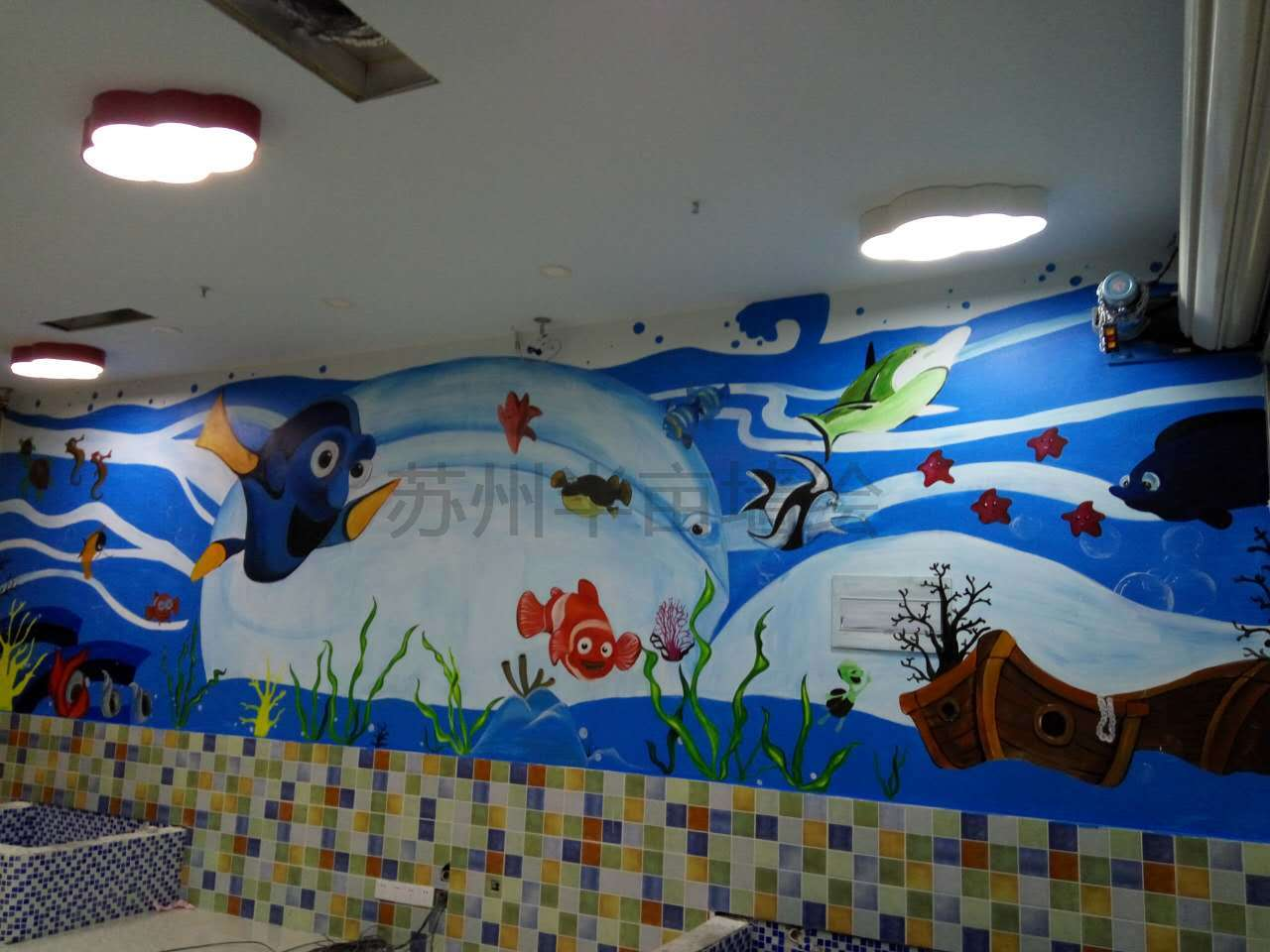 甪直海洋风格墙绘蓝色深海