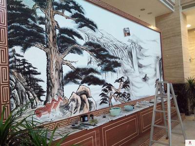水墨墙绘| |国画山水人物手绘墙| |苏州半亩墙绘 - ()