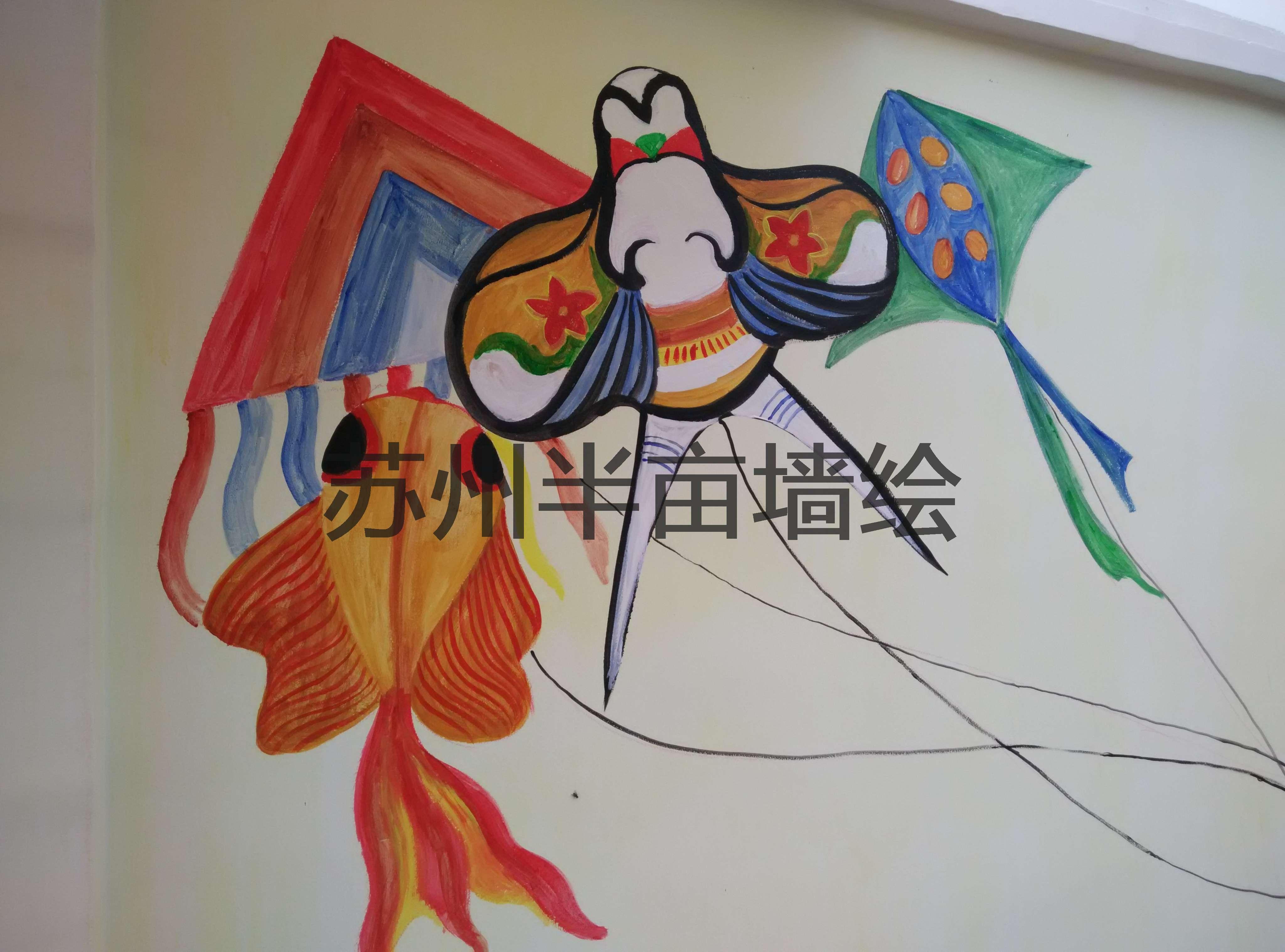 剪纸类墙绘,苏州手绘墙插画