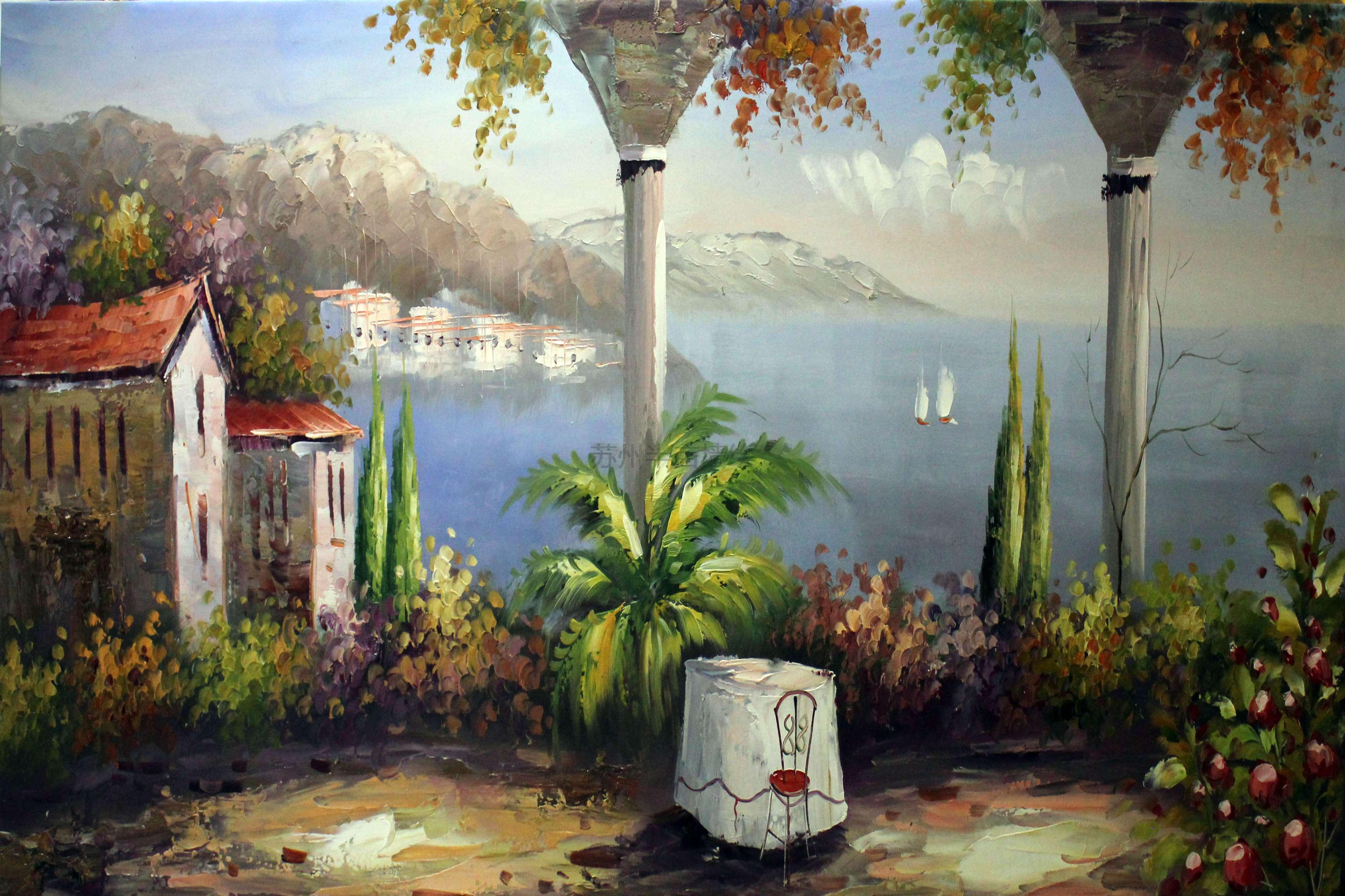 苏州装饰画专业油画地中海风景